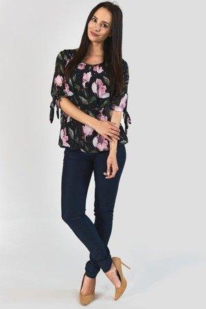 Czarna bluzka w kwiaty - Odzież