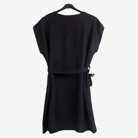 Czarna damska sukienka z napisem - Odzież