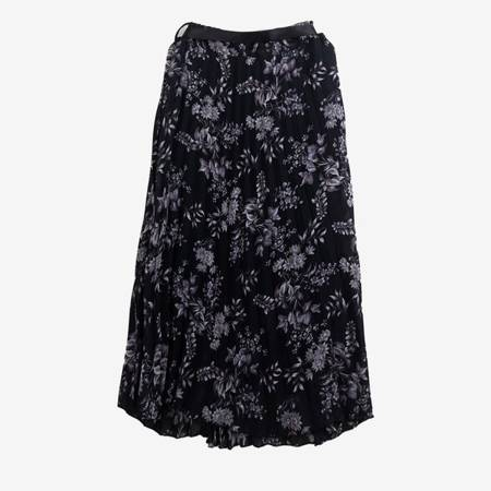 Czarna plisowana spódnica midi z szarym nadrukiem kwiatów - Odzież