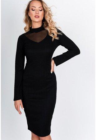 Czarna sukienka midi z przezroczystą wstawką - Odzież