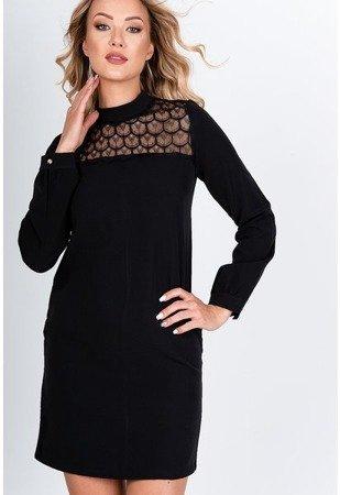 Czarna sukienka mini z koronką - Odzież