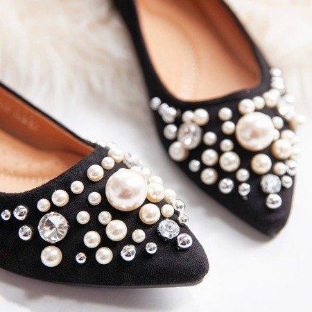 Czarne baleriny z perełkami oraz cyrkoniami Eithne - Obuwie