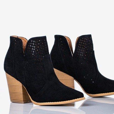 Czarne botki a'la kowbojki Bess - Obuwie