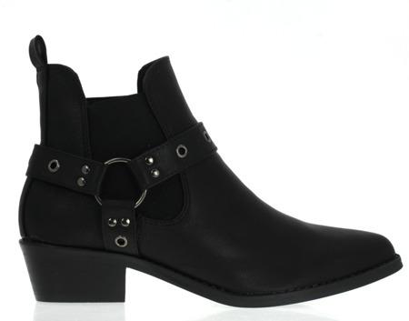 Czarne botki a'la kowbojki - Obuwie