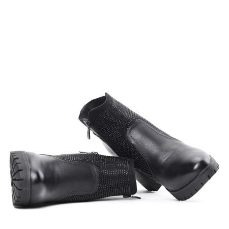 Czarne botki na słupku ze zdobieniem - Obuwie