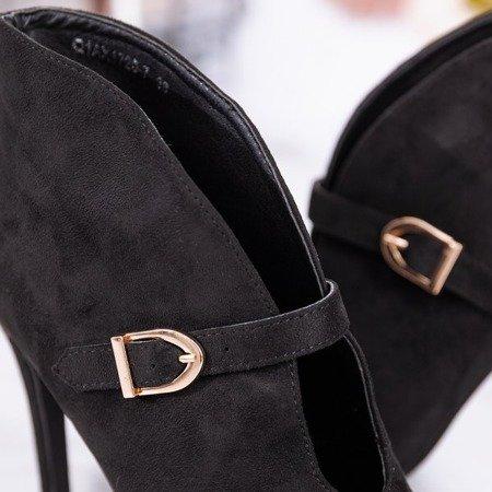 Czarne botki na wyższej szpilce z klamerką Deep Elegance - Obuwie