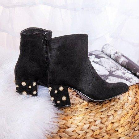 Czarne botki na wyższym obcasie z perełkami Aliet - Obuwie