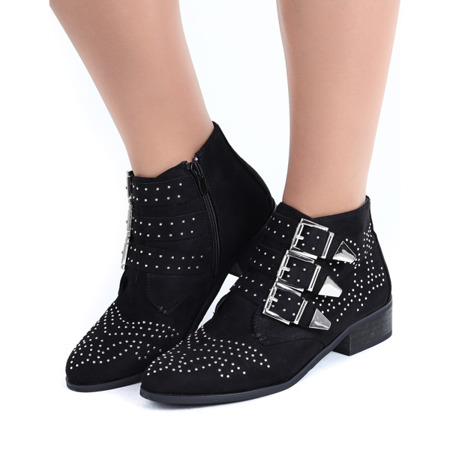 Czarne botki z dżetami Caudice - Obuwie