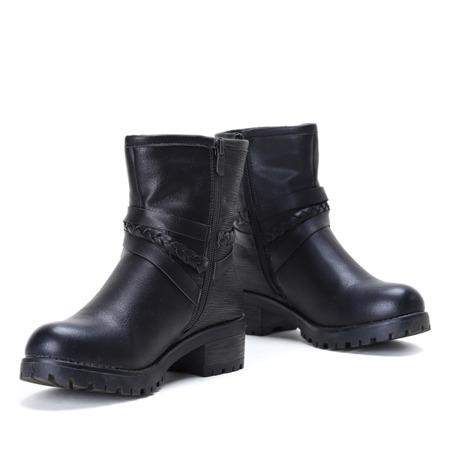Czarne botki z paseczkami - Obuwie
