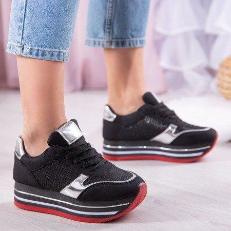 Czarne buty sportowe na platformie Lexia - Obuwie