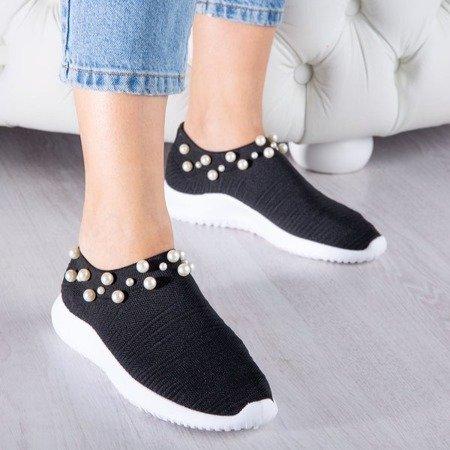 Czarne buty sportowe z perełkami Dayanah - Obuwie