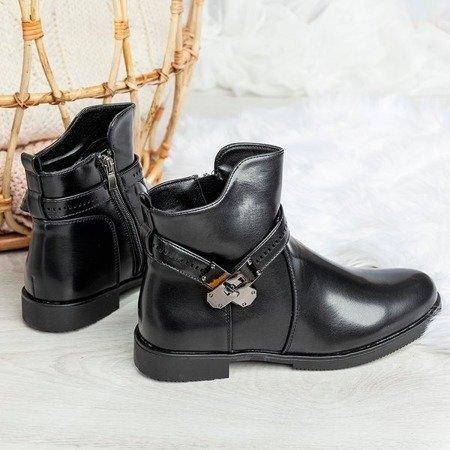Czarne damskie botki z ozdobą Valitiana - Obuwie