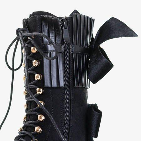 Czarne damskie botki z ozdobami Farida - Obuwie