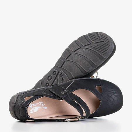 Czarne damskie półbuty z wycięciami Perte - Obuwie