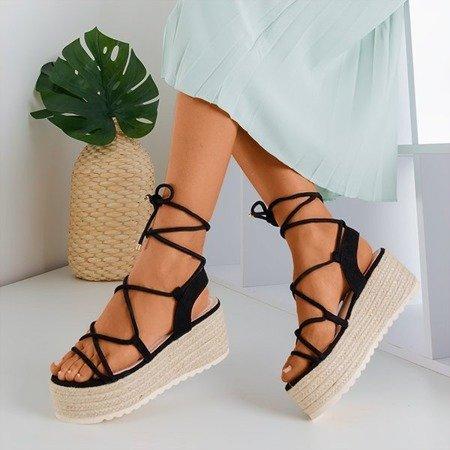 Czarne damskie sandały na platformie Alvis - Obuwie