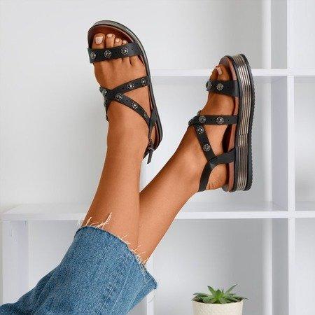 Czarne damskie sandały na platformie Joely - Obuwie