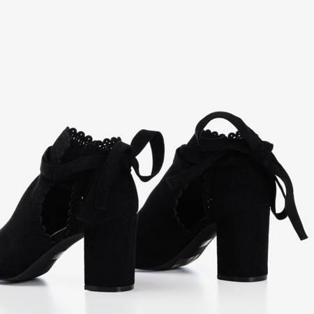 Czarne damskie sandały na słupku z cholewką Masala - Obuwie