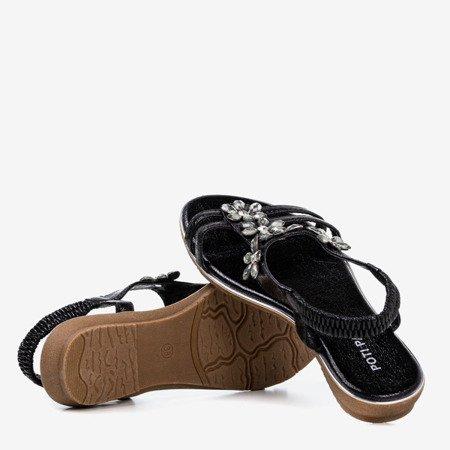 Czarne damskie sandały z kryształkami Crisela - Obuwie