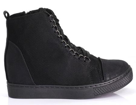 Czarne damskie sneakersy na koturnie Muriel - Obuwie