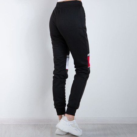 Czarne damskie spodnie dresowe z napisami - Spodnie