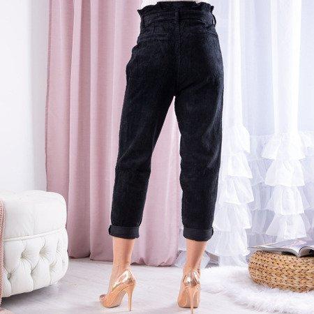 Czarne damskie spodnie paperbag z wysokim stanem - Spodnie