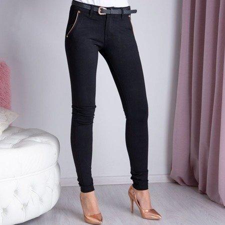 Czarne długie spodnie materiałowe - Spodnie