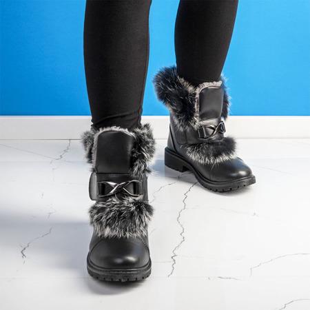 Czarne dziewczęce botki z futerkiem Neve - Obuwie