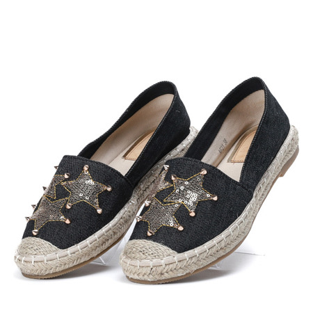 Czarne espadryle z ozdobnymi gwiazdkami Stellana - Obuwie