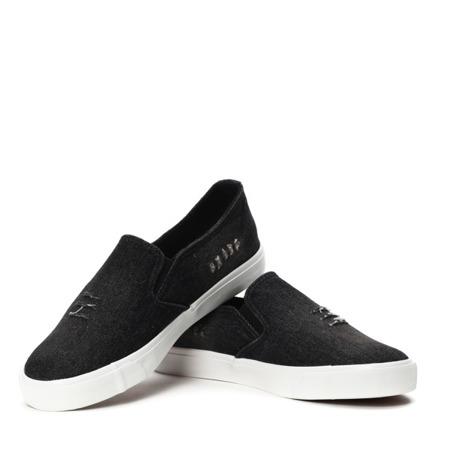 Czarne, jeansowe slip on - Obuwie