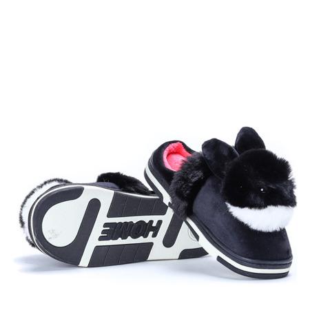 Czarne kapcie z króliczkiem Minky - Obuwie