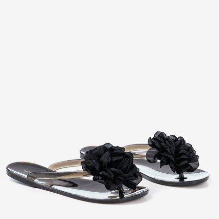 Czarne klapki japonki z kwiatuszkiem Dormeque - Obuwie