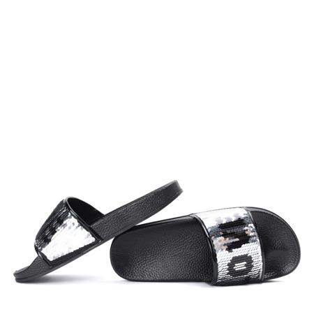 Czarne klapki z cekinami Bronx - Obuwie
