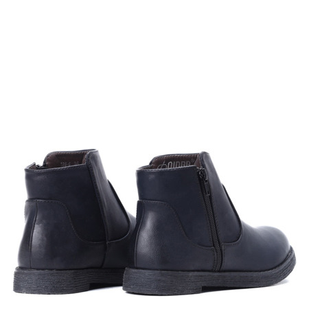 Czarne, krótkie botki z suwakiem  - Obuwie