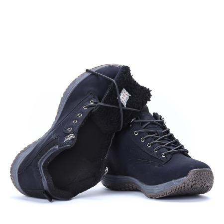 Czarne, męskie trekkingi Tommy - Obuwie