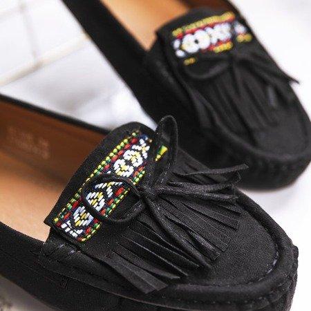 Czarne mokasyny z frędzlami Kaddo - Obuwie