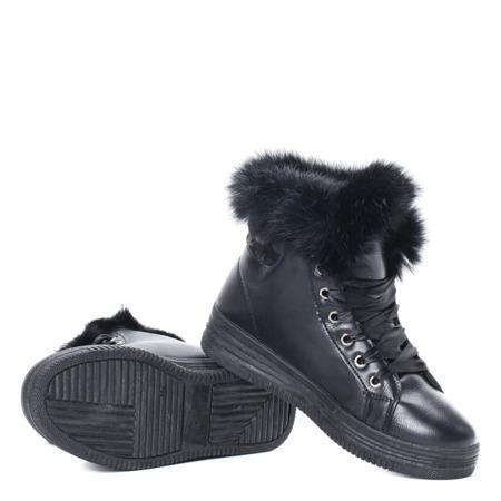 Czarne, ocieplane sneakersy Athena - Obuwie