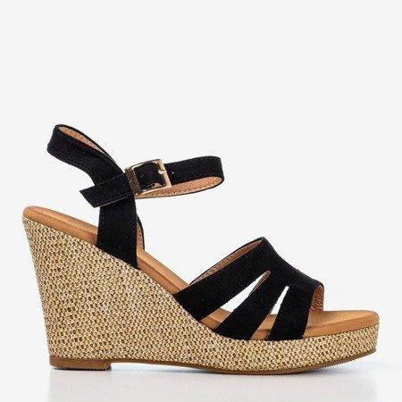 Czarne sandały damskie na koturnie Sirima - Obuwie