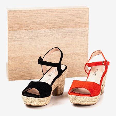 Czarne sandały damskie na słupku Sugar Honey - Obuwie