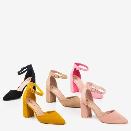 Czarne sandały damskie na wyższym słupku Raviola - Obuwie