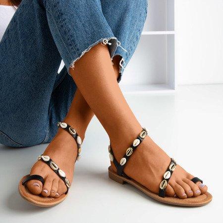 Czarne sandały damskie z muszelkami Melreu - Obuwie