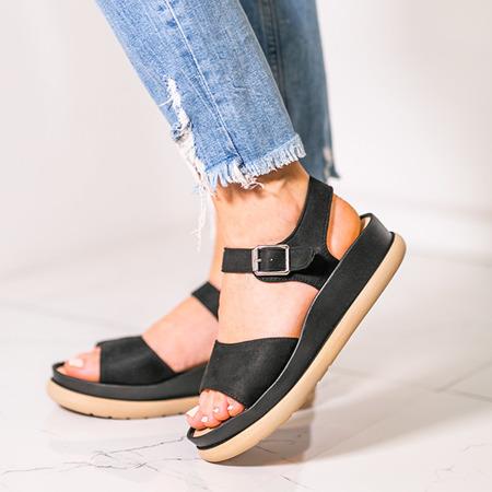 Czarne sandały na grubszej podeszwie Climaco - Obuwie