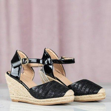Czarne sandały na koturnie Mimino - Obuwie