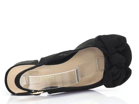 Czarne sandały na niskim obcasie Celeste- Obuwie