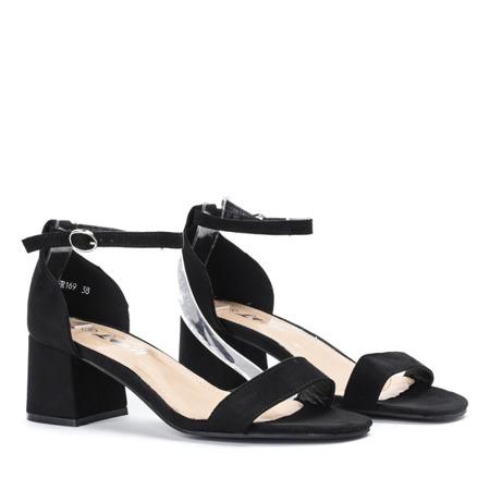 Czarne sandały na niskim słupku Roxeta - Obuwie
