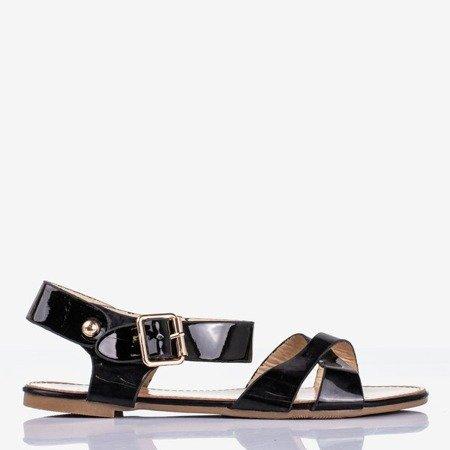 Czarne sandały na płaskiej podeszwie Metal Shine- Obuwie