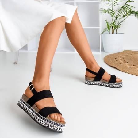 Czarne sandały na platformie Robin - Obuwie