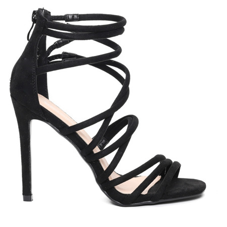 Czarne sandały na szpilce Damien - Obuwie