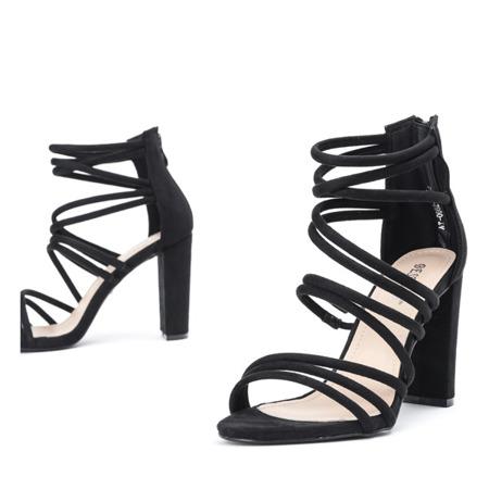 Czarne sandały na wysokim słupku Almidia - Obuwie