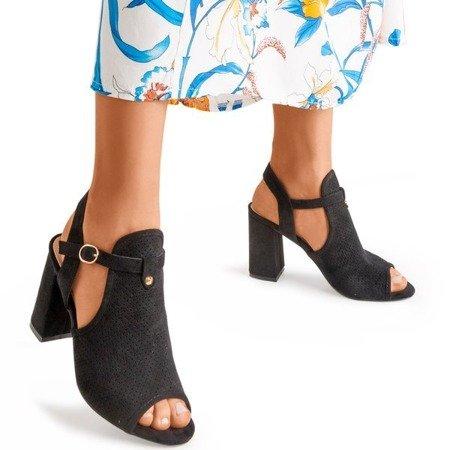 Czarne sandały na wysokim słupku Kliven - Obuwie
