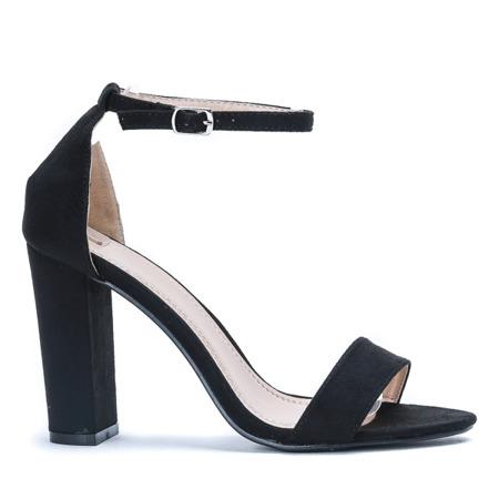Czarne sandały na wysokim słupku Livia - Obuwie